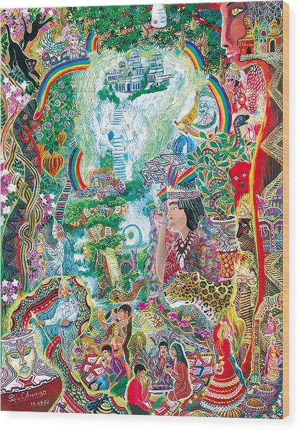 Wood Print featuring the painting Sinchi Puca Lupuna by Pablo Amaringo