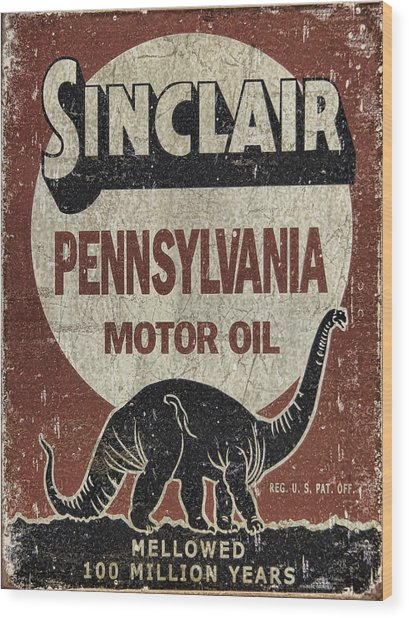 Sinclair Motor Oil Can Wood Print