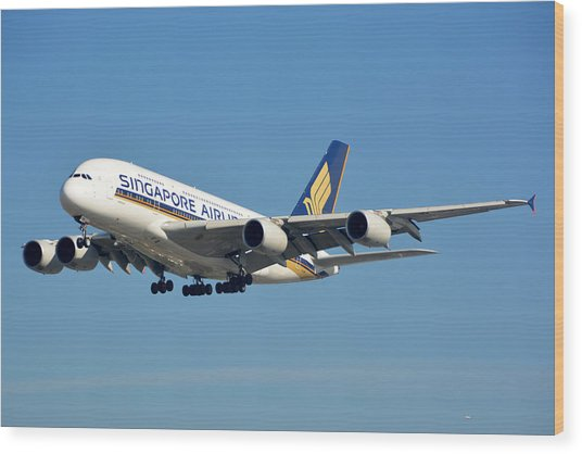 Singapore Airbus A380-841 9v-skn Los Angeles International Airport January 19 2015 Wood Print