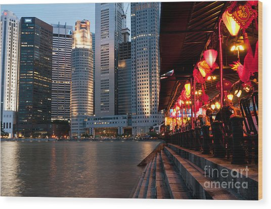 Singapore Boat Quay 02 Wood Print