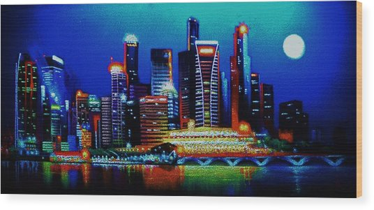 Singapore In Black Light Sold Wood Print