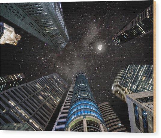 Singapore Moon Sky Wood Print