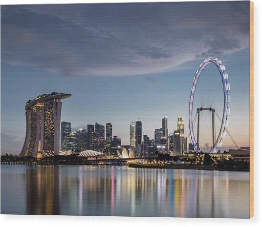 Singapore Skyline At Dusk Wood Print