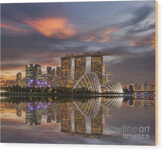 Singapore Skyline Beautiful Sunset Wood Print