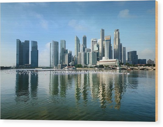 Singapore Skyline On A Blue Sunny Day Wood Print by Carlina Teteris