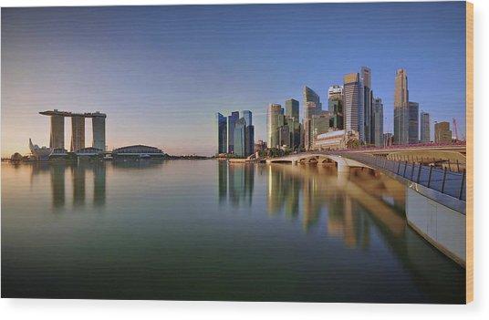 Singapore Skyline Panoramic View Wood Print by © Copyright Kengoh8888