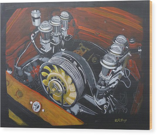Singer Porsche Engine Wood Print