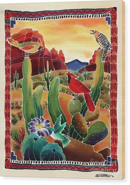 Singing In The Desert Morning Wood Print