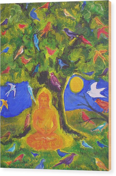 Buddha And The Birds Wood Print