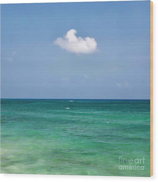 Single Cloud Over The Caribbean Wood Print
