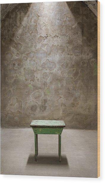 Green Table Wood Print by Maureen Fahey