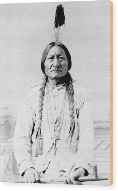 Sioux Chief Sitting Bull Wood Print