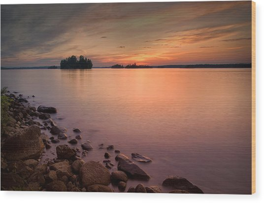 Sioux Narrows Sunset Wood Print