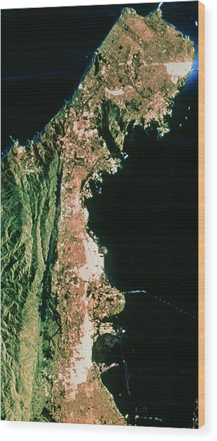 Sir-c Image Of San Francisco & Oakland Wood Print by Nasa/science Photo Library