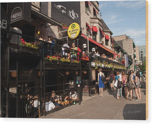 Sir Winston Churchill Pub On Rue De Crescent In Montreal Wood Print