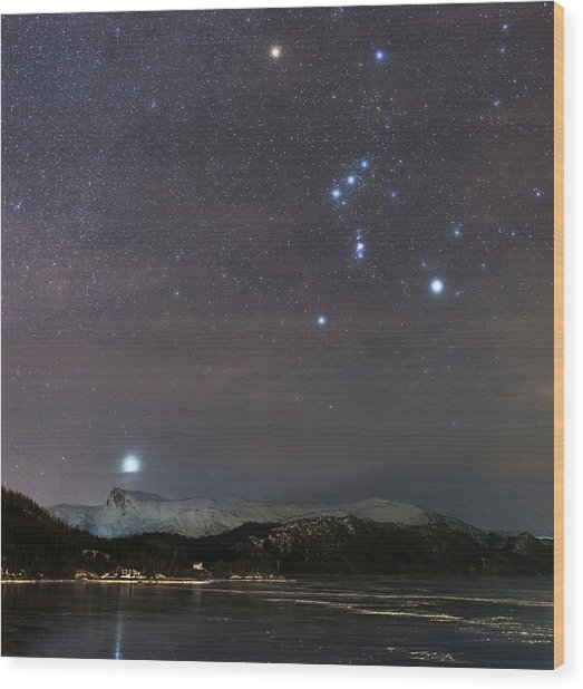 Sirius Rising With Orion Wood Print by Tommy Eliassen