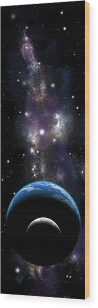 Sister Moon Nebula Wood Print