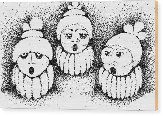 Sisters In Harmony Wood Print by Joy Bradley