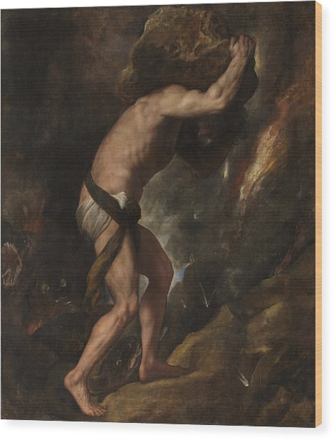 Wood Print featuring the painting Sisyphus by Titian