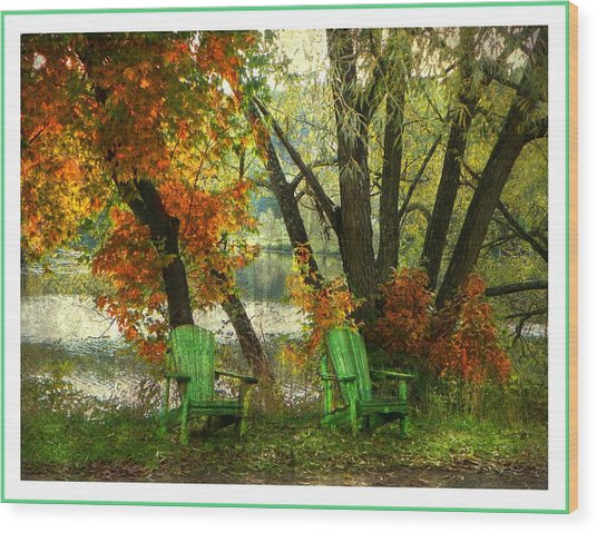 Sit A While Wood Print by Dianne  Lacourciere