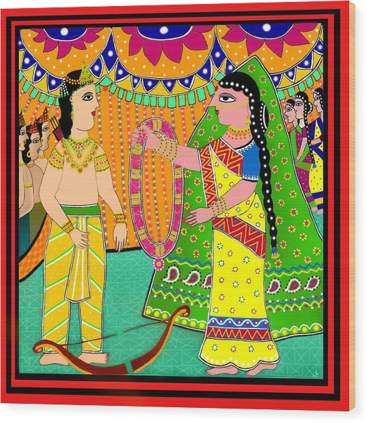 Sita's Wedding Wood Print