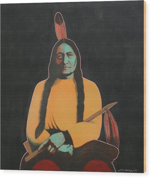 Sitting Bull Wood Print by J W Kelly