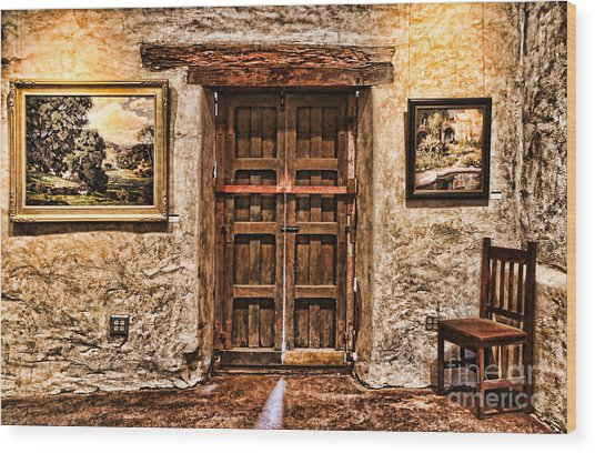 Sitting By The Door By Diana Sainz Wood Print