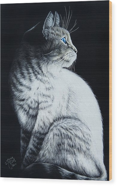 Sitting Cat Wood Print