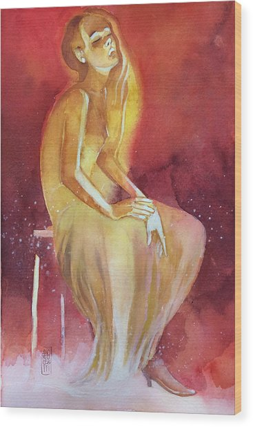 Sitting Girl Wood Print by Alessandro Andreuccetti