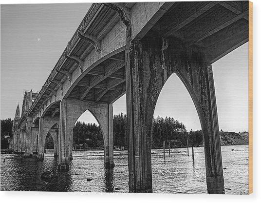 Siuslaw River Bridge Portrait Wood Print