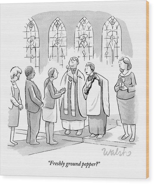 Six People In Church Wood Print