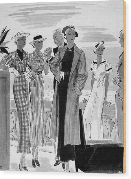 Six People Posing On A Terrace Wood Print by William Bolin