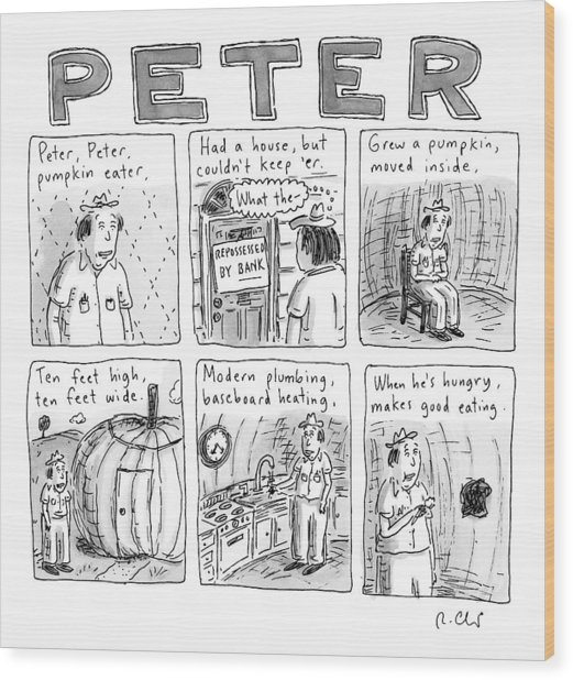 Six Rhyming Panels About A Man Who Moves Wood Print