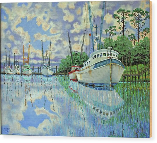 Six Shrimp Boats In Off Season Wood Print by Dwain Ray