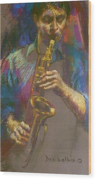 Sizzling Sax Wood Print