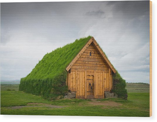 Skalholt Iceland Grass Roof Wood Print