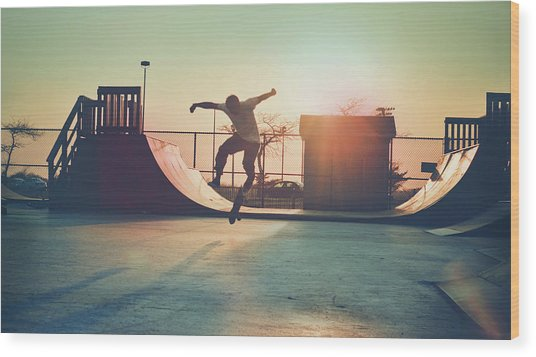Skateboarder Jumping Wood Print by Fran Polito