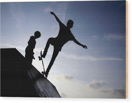 Skateboarders Wood Print