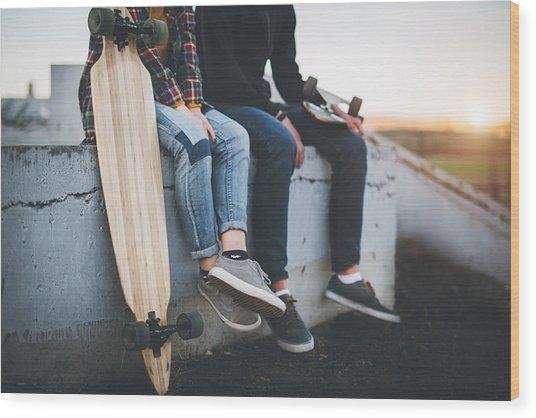 Skateboarders Taking A Rest In Skate Park Wood Print by Hobo_018