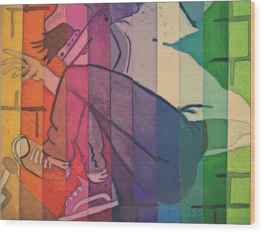 Skater Boy Wood Print by Kiara Reynolds