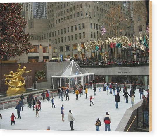 Skating In Rockefeller Center Wood Print