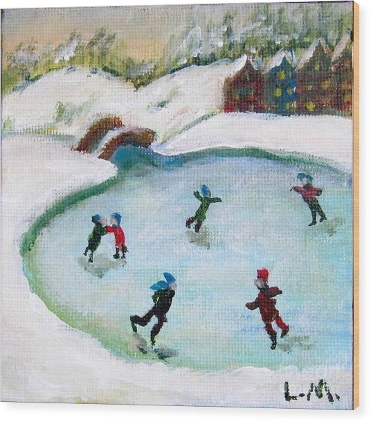 Skating Pond Wood Print