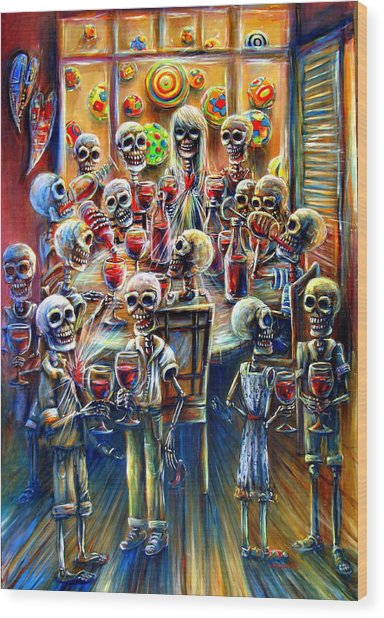 Skeleton Wine Party Wood Print