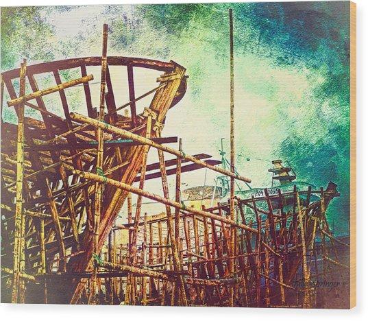Skeletons In The Yard - Boatbuilding In Ecuador Wood Print