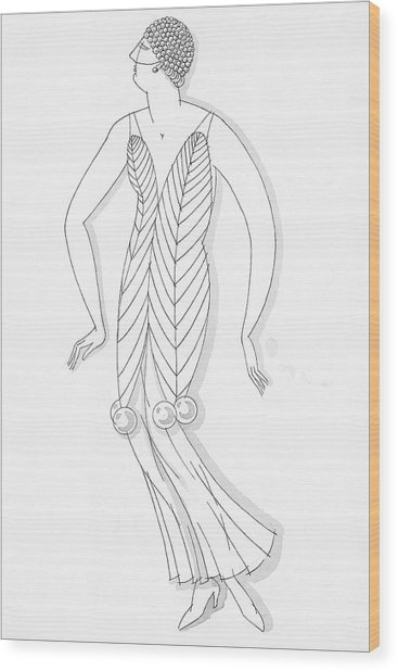 Sketch Of A Woman Wearing White Mistletoe Costume Wood Print by Robert E. Locher