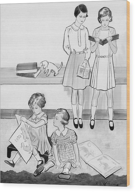 Sketch Of Four Young Girls Wood Print