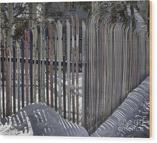 Ski Fence Wood Print