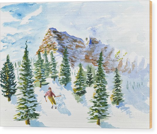 Skier In The Trees Wood Print
