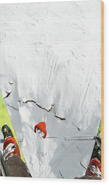 Skier Jumps Off Cliff Under Chairlift Wood Print by Connor Walberg