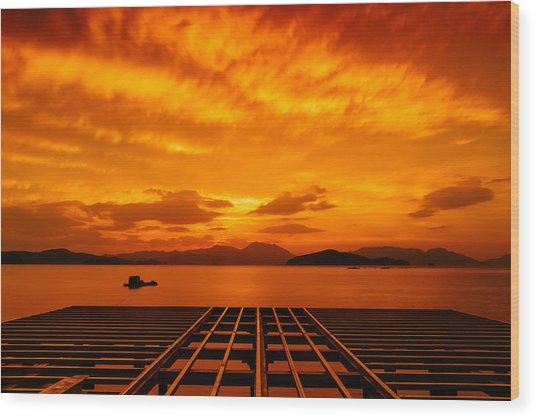 Skies Ablaze - One Wood Print